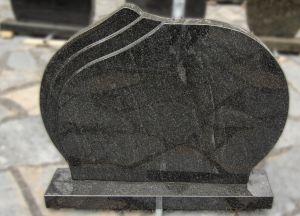 Apvalus tamsiai pilko granito paminklas (P1377)