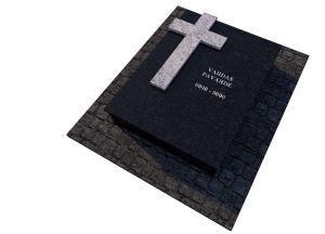 Juodo granito ir šviesaus granito kryžiaus komplektas (KP11-2)