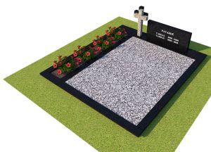 Juodo granito paminklas ir tvorelė su pilku kryžiumi ir pilka skaldele (KP16-2)