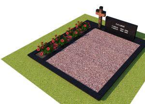 Juodo granito paminklas ir tvorelė su rausvu kryžiumi ir raudona skaldele (KP16-1)