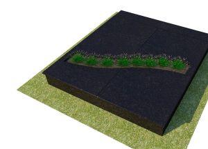 Juodo granito uždengimas su lenktu gėlynu ir apvalintom briaunom (KP13-2)