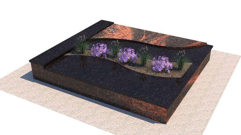 Poliruoto rausvo ir juodo granito derinys (KP15-2)
