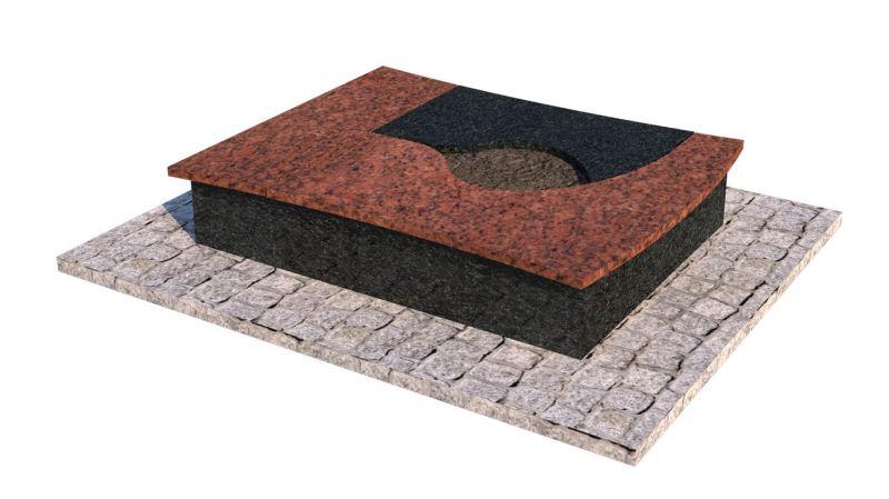 Raudono ir juodo granito derinys mažai kapavietei (KP12-2)