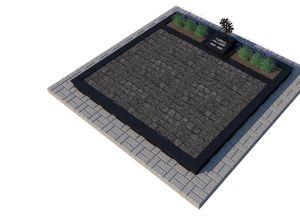 Skaldytų pilkų granito trinkelių ir juodo blizgaus akmens derinys (KP17-2)
