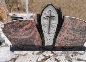 Švediško juodo ir rausvo Auroros granito paminklas (KUL35)