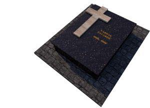 Tamsaus granito ir šviesaus kryžiaus komplektas (KP11-1)