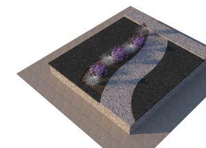 Tamsaus ir šviesaus nepoliruoto granito derinys (KP15-1)
